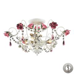 Rosavita 3 Light Semi Flush In Antique White And Pink - Includes Recessed Lighting Kit