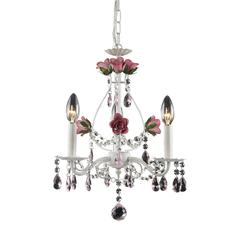 Rosavita 3 Light Chandelier In Antique White And Pink