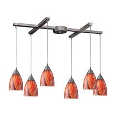 Arco Baleno 6 Light Pendant In Satin Nickel And Multi Glass