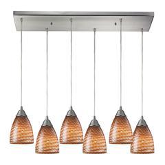 ELK lighting Arco Baleno 6 Light Pendant In Satin Nickel