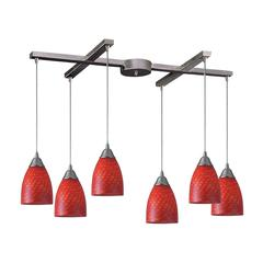 Arco Baleno 6 Light Pendant In Satin Nickel And Scarlet Red Glass