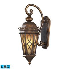 Burlington Junction 2 Light Outdoor LED Wall Sconce In Hazlenut Bronze And Amber Scavo Glass