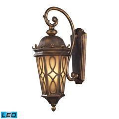 ELK lighting Burlington Junction 3 Light Outdoor LED Wall Sconce In Hazlenut Bronze And  Amber Scavo Glass