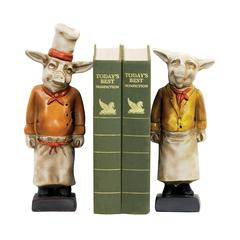Pair Chef Pig Bookends