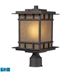 ELK lighting Newlton 1 Light Outdoor LED Post Lamp In Weathered Charcoal