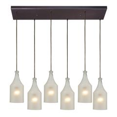 Skylar 6 Light Pendant In Oiled Bronze And Frosted Glass