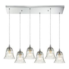 Darien 6 Light Pendant In Polished Chrome And Clear Glass