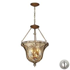 ELK lighting Cheltham 4 Light Pendant In Mocha And Champagne Plated Glass - Includes Recessed Lighting Kit