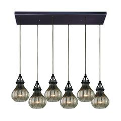 Danica 6 Light Pendant In Oil Rubbed Bronze And Mercury Glass