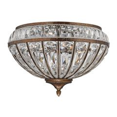 ELK lighting Empire 4 Light Flushmount In Mocha And Clear Crystal