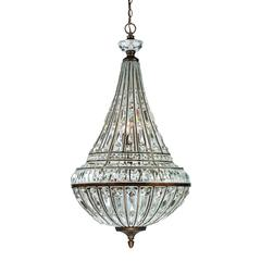 Empire 9 Light Pendant In Mocha And Clear Crystal