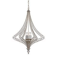 ELK lighting Ventoux 6 Light Chandelier In Satin Silver And Clear Crystal