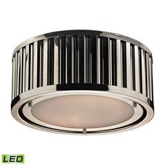 Linden Manor 2 Light LED Flushmount In Polished Nickel