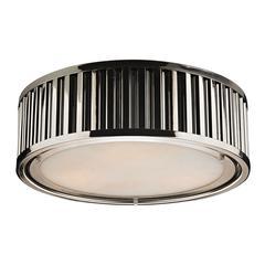 Linden Manor 3 Light Flushmount In Polished Nickel