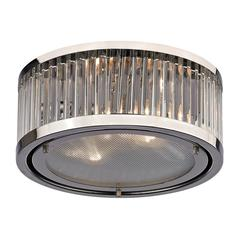 Linden Manor 2 Light Flushmount In Crystal And Polished Nickel