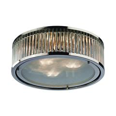 Linden Manor 3 Light Flushmount In Crystal And Polished Nickel