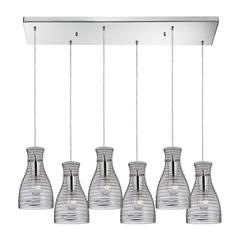 ELK lighting Strata 6 Light Pendant In Polished Chrome And Clear Glass