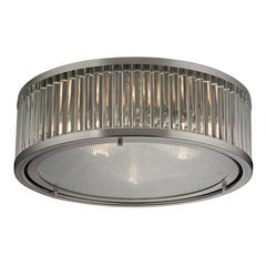 Linden Manor 3 Light Flushmount In Crystal And Brushed Nickel