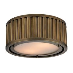 Linden Manor 2 Light Flushmount In Aged Brass
