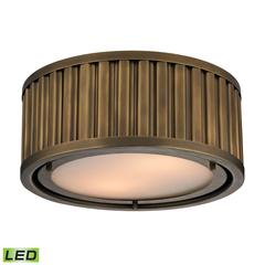 Linden Manor 2 Light LED Flushmount In Aged Brass