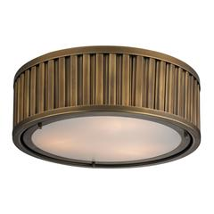 Linden Manor 3 Light Flushmount In Aged Brass