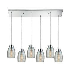 Muncie 6 Light Rectangle Pendant In Polished Chrome With Clear Spun Glass