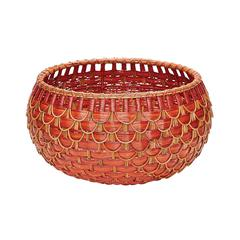 Lazy Susan Medium Fish Scale Basket In Red And Orange
