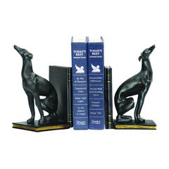 Pair Of Black Greyhound Bookends