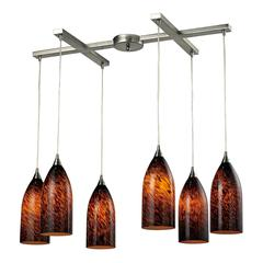 ELK lighting Verona 6 Light Pendant In Satin Nickel And Espresso Glass