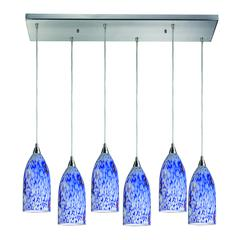 Verona 6 Light Pendant In Satin Nickel And Starburst Blue Glass