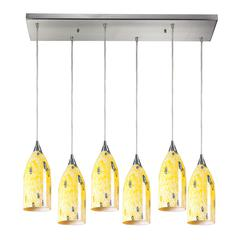 Verona 6 Light Pendant In Satin Nickel And Yellow Blaze Glass