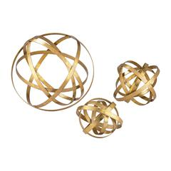 Sterling Set of 3 Open Structure Metal Orbs