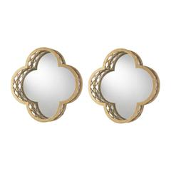 Set of 2 Quatrefoil Wall Mirrors