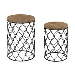 Set of 2 Mesh Work Drum Tables