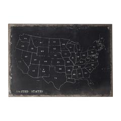 Chalk Outline Map Of USA On Black Canvas