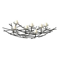 Sterling Iron Nest Candle Holder In Black / Chrome