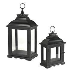 Set Of 2 Dark Bronze Lanterns