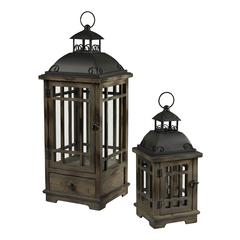Pointe Boise Set Of 2 Wood & Metal Lanterns By