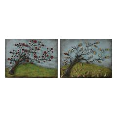 Sterling Autumn And Spring-Set Of 2 Metal Autumn And Spring Pictures