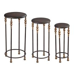 Sterling Dudley-Set Of 3 Stacking Tables In Dark Bronze / Gold