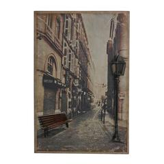 Paris Street-Paris Street Scene Printed On Metal With Metal 3D Accents