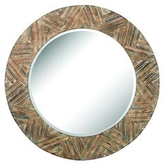Large Round Wood Mirror