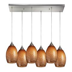 Mulinello 6 Light Pendant In Satin Nickel And Cocoa Glass