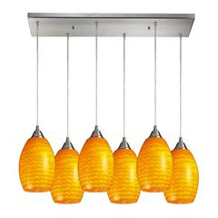 Mulinello 6 Light Pendant In Satin Nickel And Canary Glass