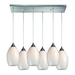 Mulinello 6 Light Pendant In Satin Nickel And White Swirl Glass