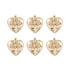 Heart Set of 6 Ornaments In Gold
