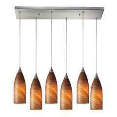 Cilindro 6 Light Pendant In Satin Nickel And Cocoa Glass