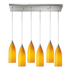 Cilindro 6 Light Pendant In Satin Nickel And Canary Glass