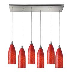 Cilindro 6 Light Pendant In Satin Nickel And Scarlet Red Glass