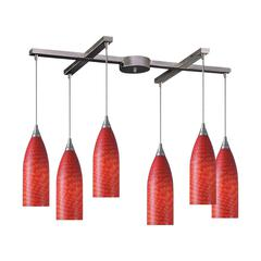 ELK lighting Cilindro 6 Light Pendant In Satin Nickel And Scarlet Red Glass